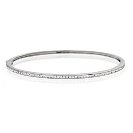 9K White Gold 0.40ct Diamond Bangle, J1106